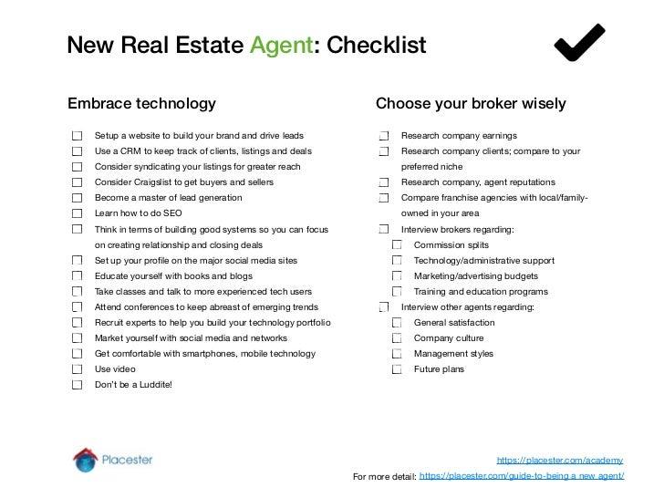 New Real Estate Agent Checklist