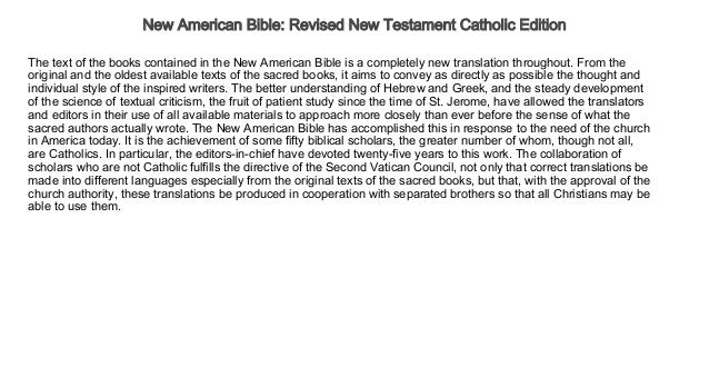 New American Bible Revised New Testament Catholic Edition