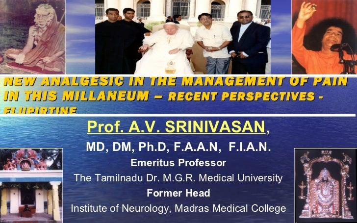 NEW ANALGESIC IN THE MANAGEMENT OF PAININ THIS MILLANEUM – RECENT PERSPECTIVES -FLUPIRTINE             Prof. A.V. SRINIVAS...