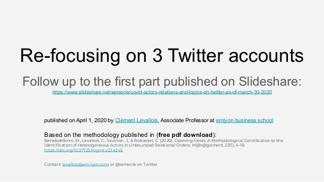 Re-focusing on 3 Twitter accounts Follow up to the first part published on Slideshare: https://www.slideshare.net/seinecle...