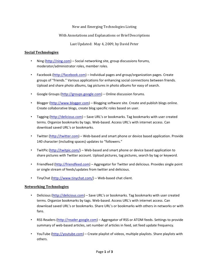 New and Emerging Technologies Listing                        With Annotations and Explanations or Brief Descriptions      ...