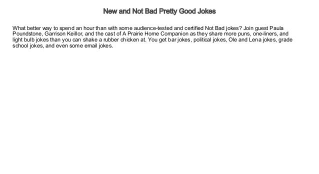 New and Not Bad Pretty Good Jokes Audiobook Free | Comedy