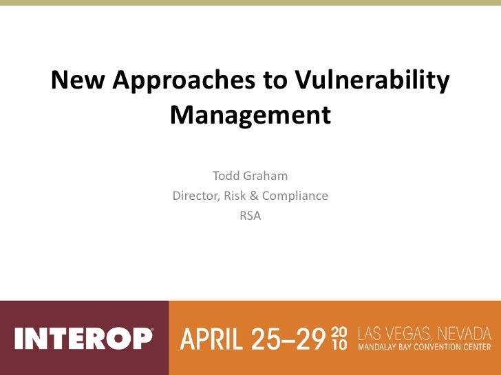 New approaches to vulnerability management