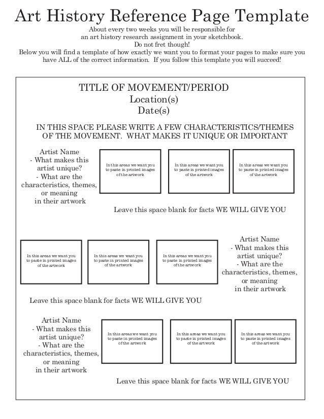 Art History Reference Page Template                        About every two weeks you will be responsible for              ...