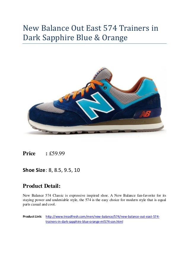 New Balance Out East 574 Trainers in Dark Sapphire Blue \u0026 Orange Price :  �59.99