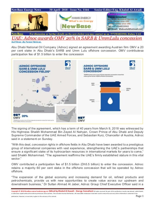 New base 30 april 2018 energy news issue 1166 by khaled al awadi