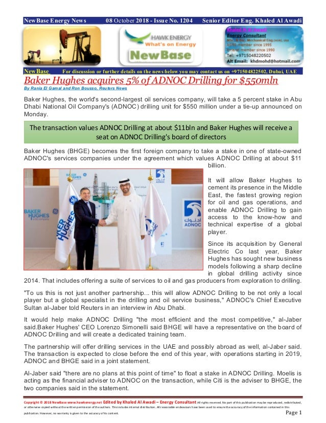 New base energy news october 08 2018 no 1204 by khaled al awadi