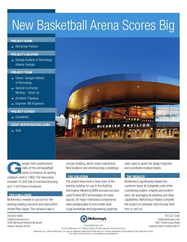 New Basketball Arena Scores Big Project Name žž McCamish Pavilion Project Location žž Georgia Institute of Technology Atla...