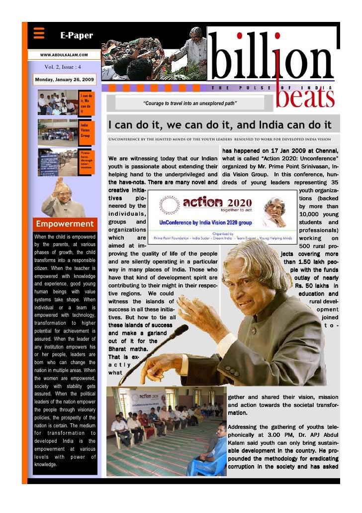 E-Paper   WWW.ABDULKALAM.COM       Vol. 2, Issue : 4  Monday, January 26, 2009                          I can do          ...