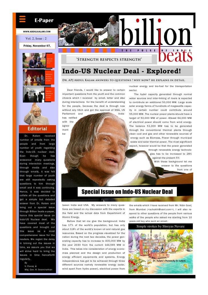 E-Paper   WWW.ABDULKALAM.COM      Vol. 2, Issue : 2     Friday, November 07,                            Indo-US           ...
