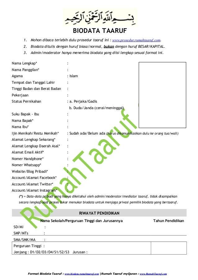 New Biodata Taaruf