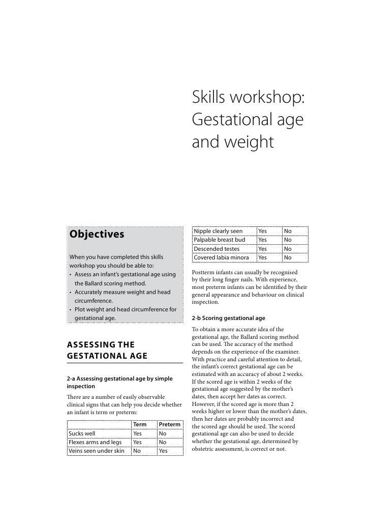 Skills workshop:                                                  Gestational age                                         ...