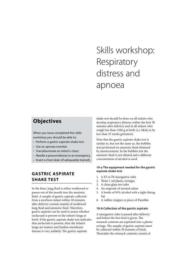 Skills workshop:                                                      Respiratory                                         ...