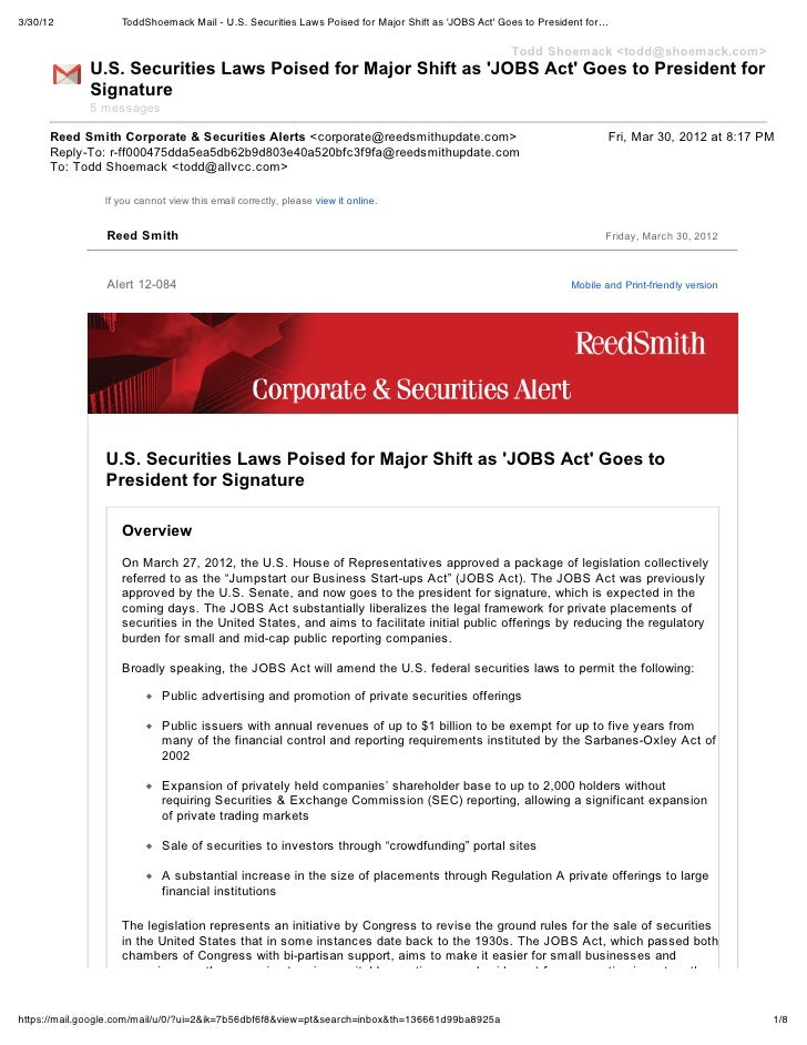 3/30/12            ToddShoemack Mail - U.S. Securities Laws Poised for Major Shift as JOBS Act Goes to President for…     ...
