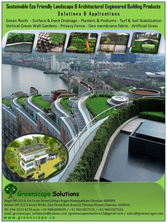 Sustainable Eco Friendly Landscape & Architectural Engineered Building Products Solutions & Applications Green Roofs - Sur...