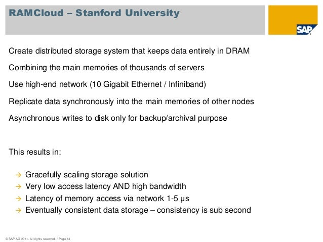 RAMCloud – Stanford University  Create distributed storage system that keeps data entirely in DRAM  Combining the main mem...