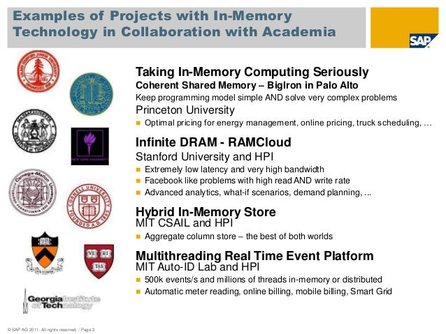 Examples of Projects with In-Memory  Technology in Collaboration with Academia  © SAP AG 2011. All rights reserved. / Page...
