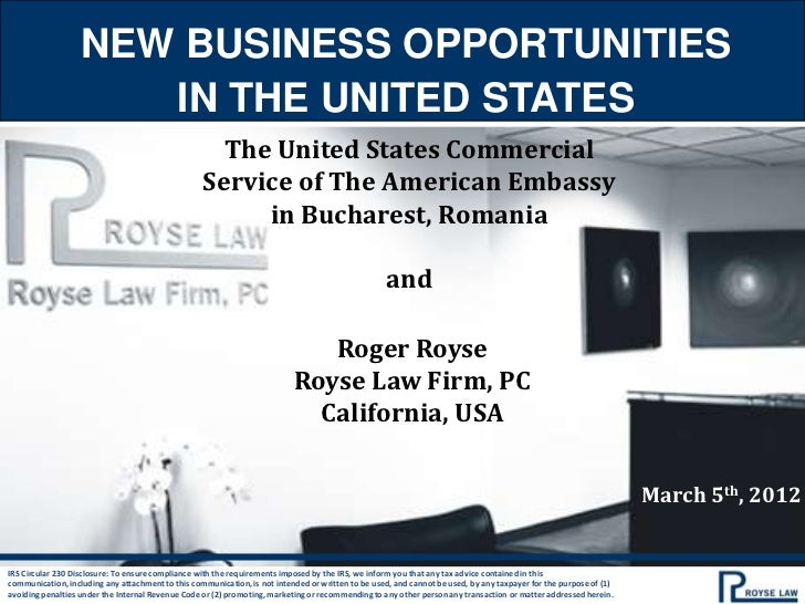 NEW BUSINESS OPPORTUNITIES                      IN THE UNITED STATES                                                     T...