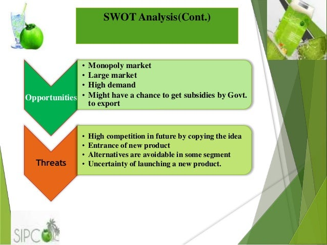 "swot analysis of coconut water This report provides in depth study of ""organic coconut water market"" using  swot analysis ie strength, weakness, opportunities and threat."