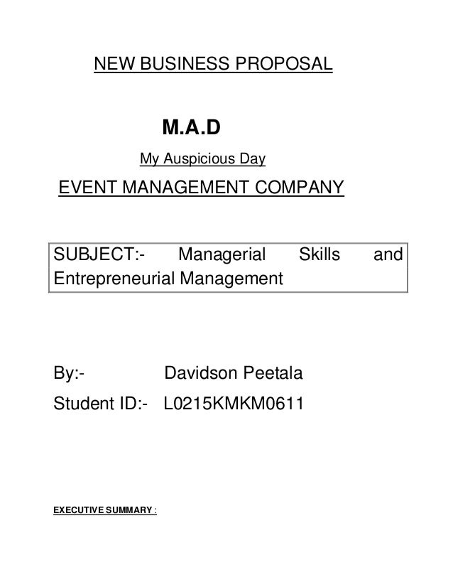 business proposal for event management