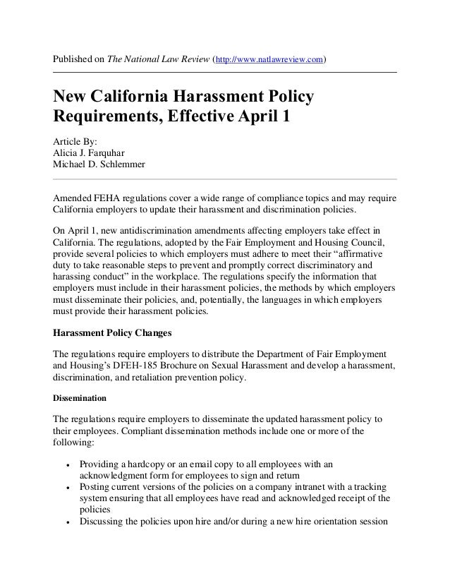 New CA Harassment Policy Requirements, Effective April 1, 2016