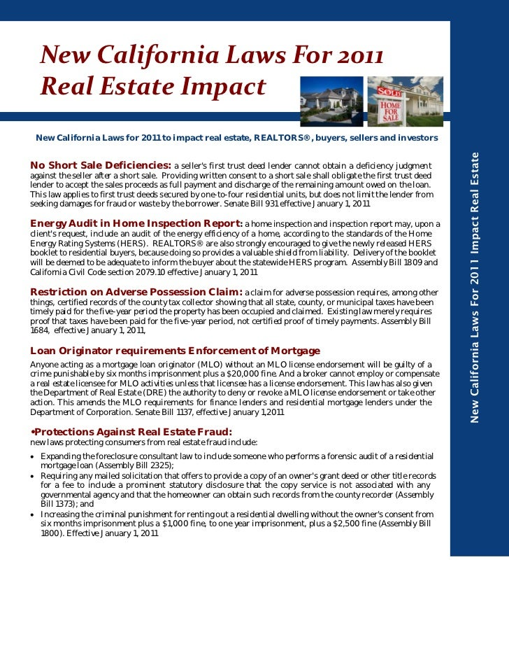 NewCaliforniaLawsFor2011  RealEstateImpact New California Laws for 2011 to impact real estate, REALTORS®, buyers, s...