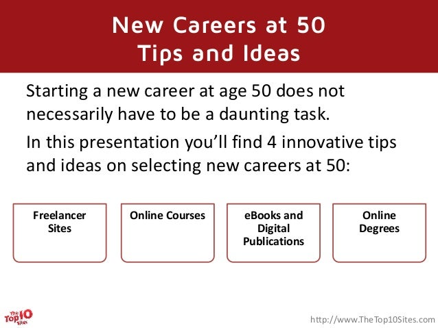 New career at 50 - Tips and Ideas