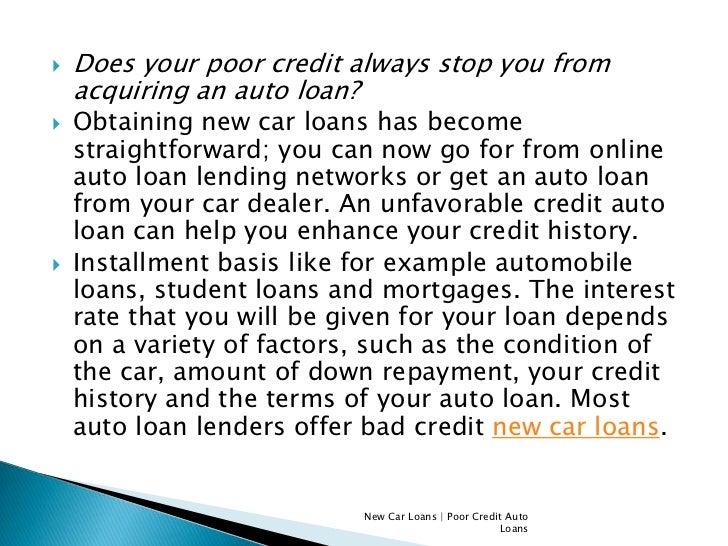 Poor Credit Auto Loans Online