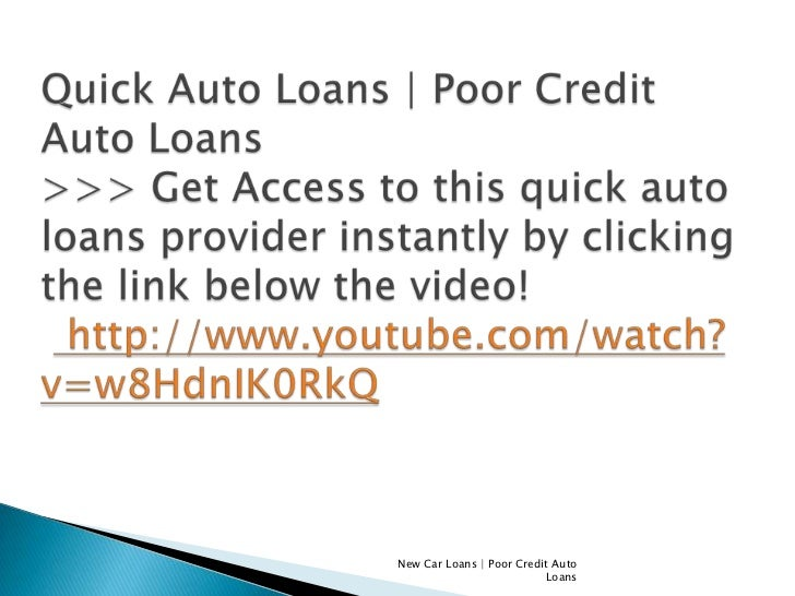 New Car Loans For Poor Credit