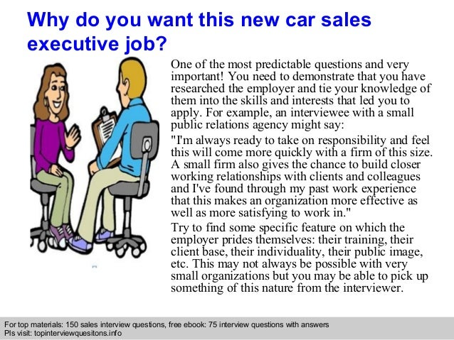 New car sales executive interview questions and answers