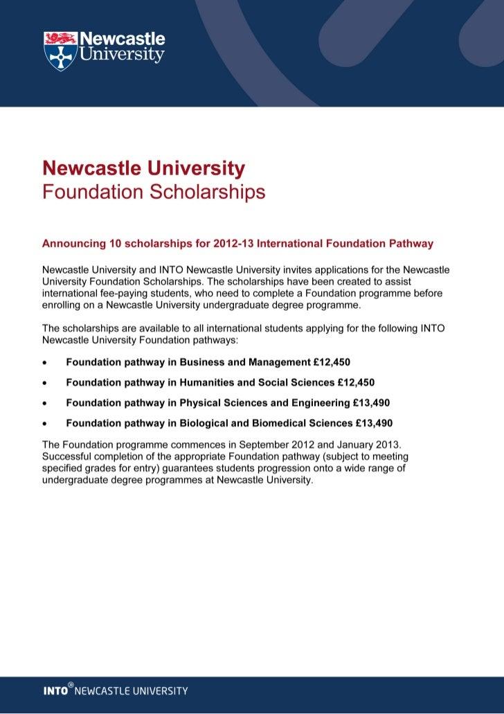 Newcastle University - Scholarships 2012-13