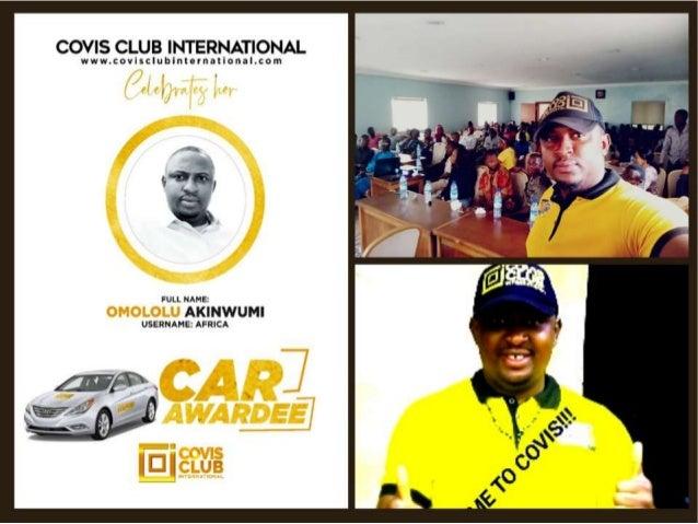OMOLOLU AKINWUNMI AKA BINARYMAN OF AFRICA A GLOBAL TRAINER AND CAR AWARDEE