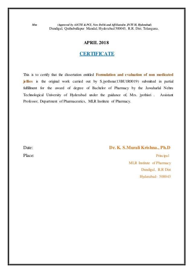 New certificates s jyosthna