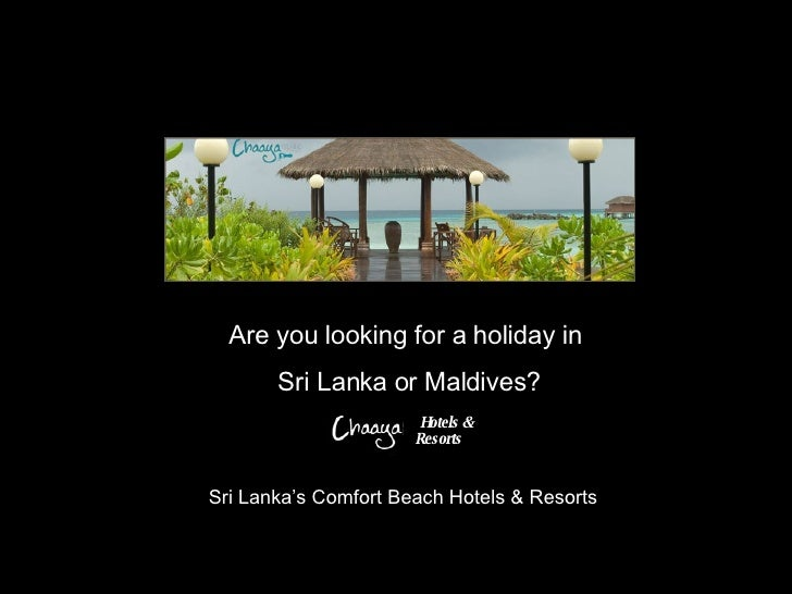 Are you looking for a holiday in  Sri Lanka or Maldives? Sri Lanka's Comfort Beach Hotels & Resorts  Hotels & Resorts