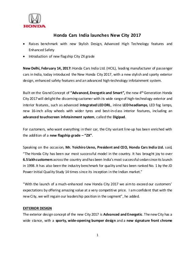 new car launch press releaseNew Honda City 2017 Launch  Press Release
