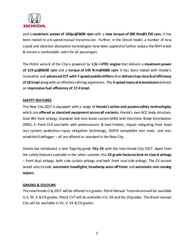 honda city  launch press release