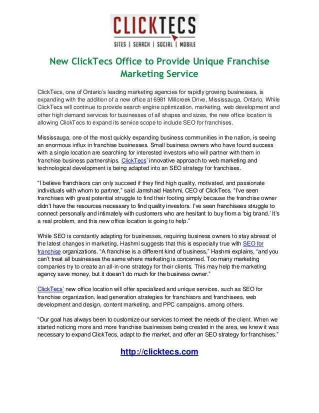"New ClickTecs Office to Provide Unique Franchise Marketing Service ClickTecs, one of Ontario""s leading marketing agencies ..."
