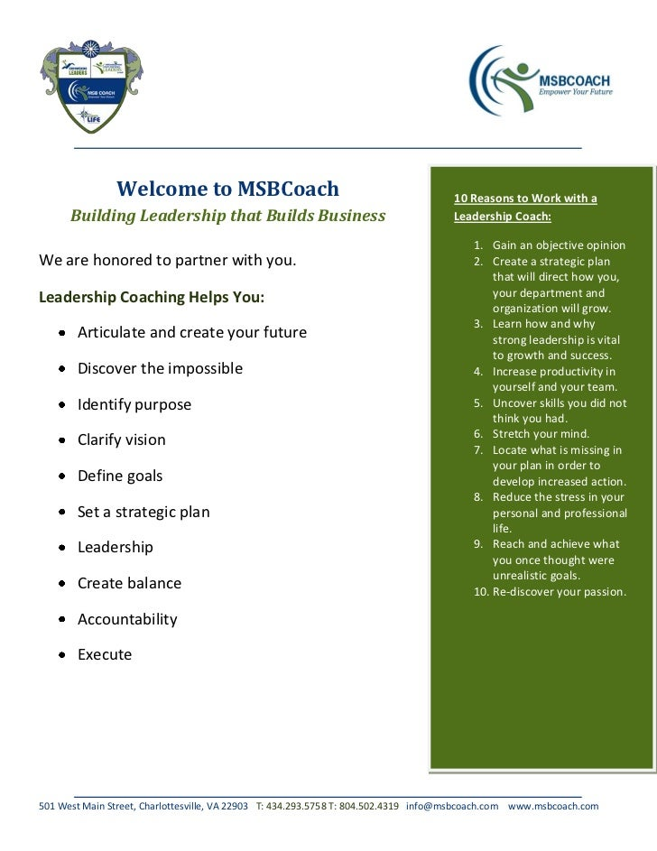 Welcome to MSBCoach                                                  10 Reasons to Work with a      Building Leadership th...