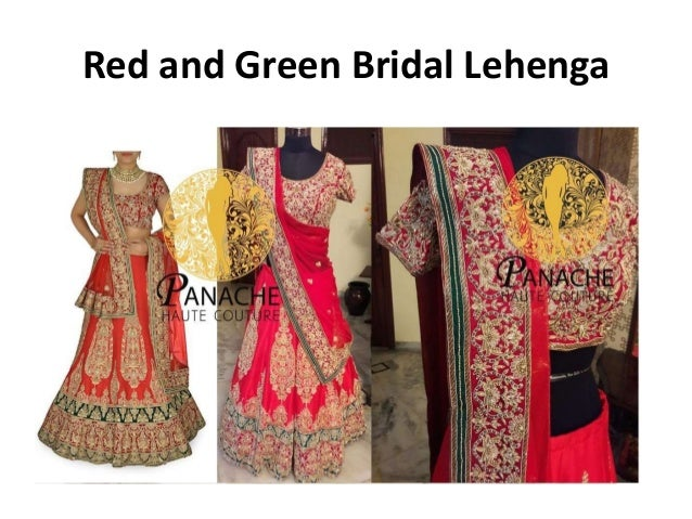 92c4c2872197d6 Indo Western Gown; 9. Red and Green Bridal Lehenga ...