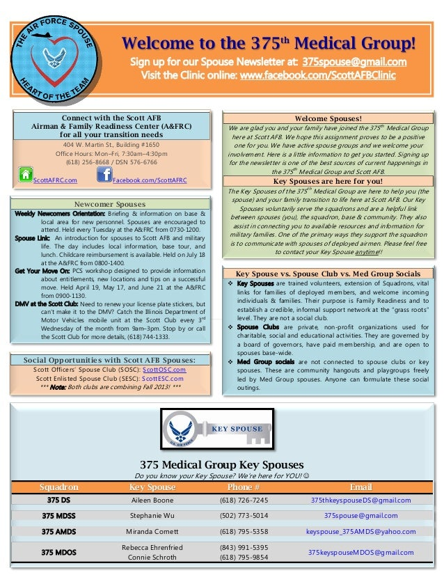 Welcome to the 375th Medical Group!                                         Sign up for our Spouse Newsletter at: 375spous...