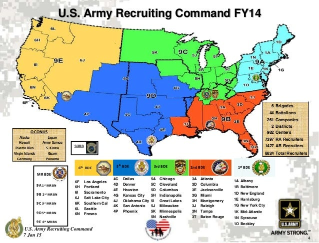 Newcomer Orientation Presentation - Us army recruiting map