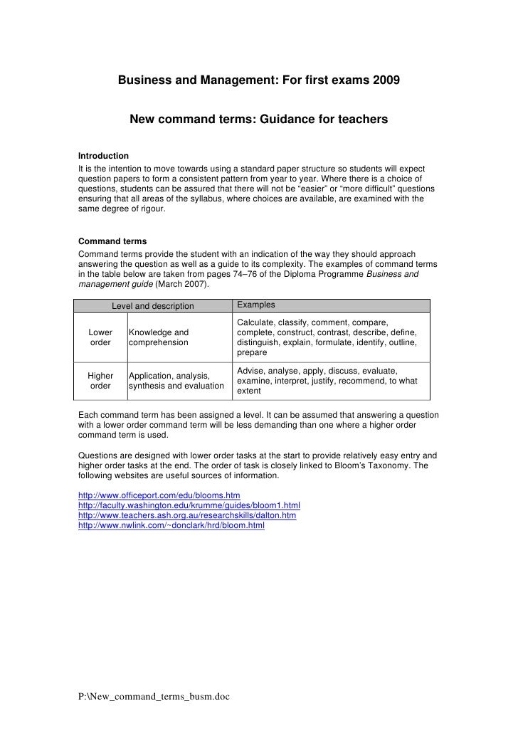 Business and Management: For first exams 2009                New command terms: Guidance for teachers  Introduction It is ...
