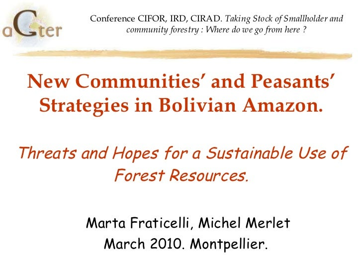 New Communities' and Peasants' Strategies in Bolivian Amazon. Threats and Hopes for a Sustainable Use of Forest Resources....