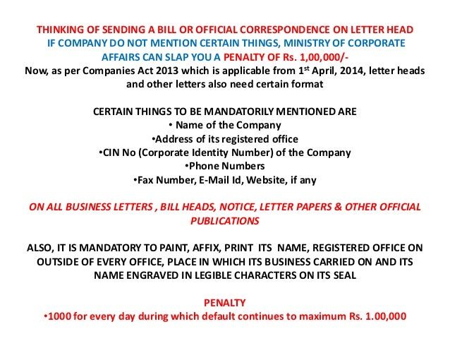New Letter Head Format as per Companies Act 2013