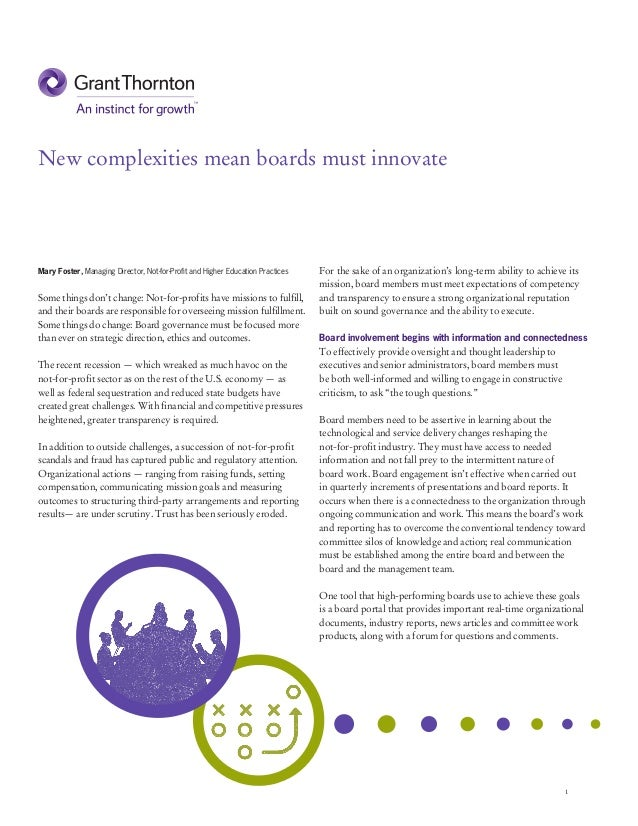 New complexities mean not for-profit boards must innovate