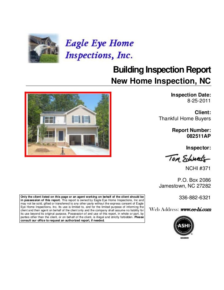 Building Inspection Report                                                                         New Home Inspection, NC...