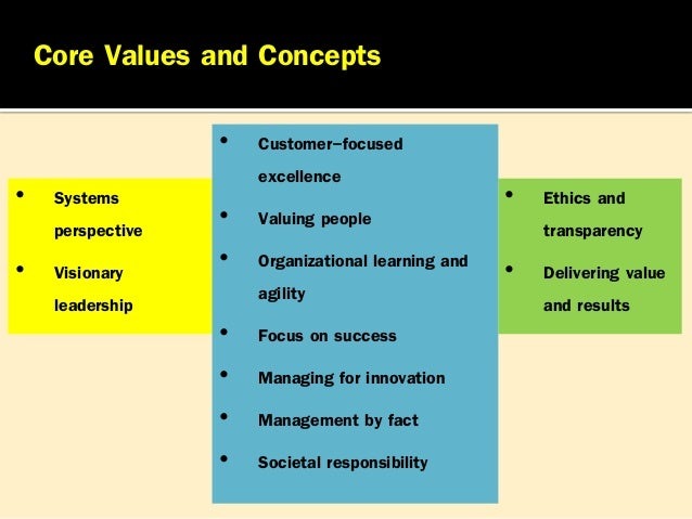 Core Values and Concepts • Systems perspective • Visionary leadership • Ethics and transparency • Delivering value and res...