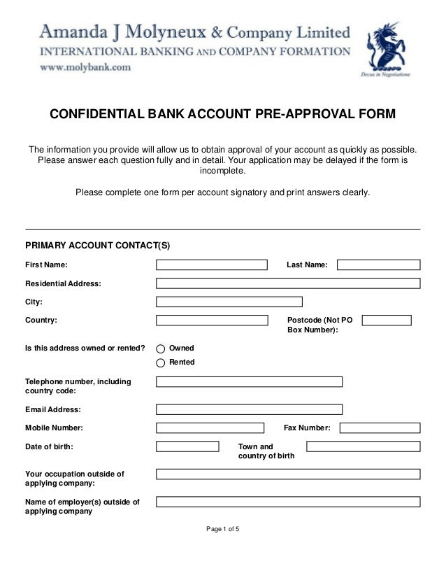 New Corporate Bank Account Pre Approval Form