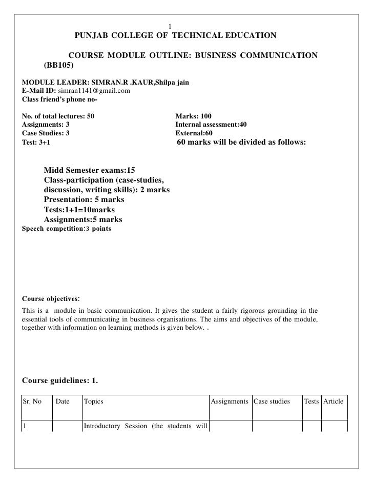1                    PUNJAB COLLEGE OF TECHNICAL EDUCATION                COURSE MODULE OUTLINE: BUSINESS COMMUNICATION   ...