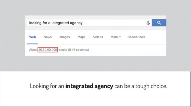 looking for a integrated agency J},   Web News Images Maps Videos More V Search tools  About t6.60,00,000 results (0.46 se...